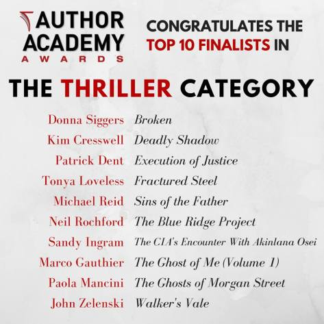 Deadly Shadow shortlisted (thriller category) at the Author Academy Awards